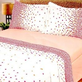 Σετ παπλώματος διπλό, 100% βαμβακερό, λευκό - ροζ
