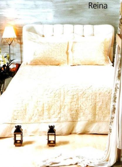 Νυφικό κουβερλί aslanishome. Σετ τεσσάρων τεμαχίων, υπέρδιπλο, ζακάρ - βαμβακοσατέν, σε λευκό χρώμα