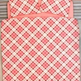 Ημίδιπλα σεντόνια Palamaiki, από βαμβακοφανέλα. Σετ τριών τεμαχίων, σε ροζ χρωματισμό. 170*265