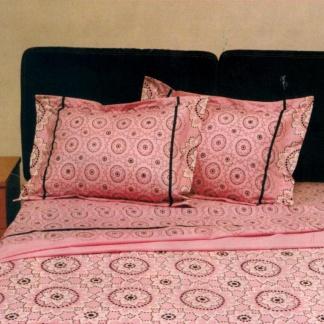 Ημίδιπλα σεντόνια Palamaiki, 100% βαμβακερά. Σετ τριών τεμαχίων, σε κλασσικό ροζ μοτίβο