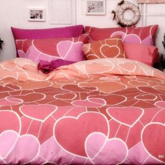 Ημίδιπλα σεντόνια Palamaiki, 100% βαμβακερά. Σετ τριών τεμαχίων σε ροζ χρώμα, print καρδιές