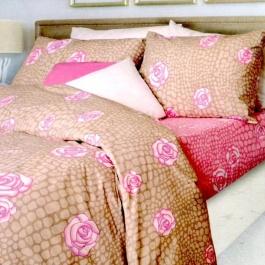 Ημίδιπλα σεντόνια, 100% βαμβακερά. Σετ τριών τεμαχίων, σε καφέ - ροζ χρωματισμό. 170*260cm