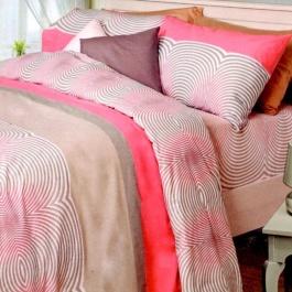 Ημίδιπλα σεντόνια Palamaiki, 100% βαμβακερά. Σετ τριών τεμαχίων σε ροζ - γκρι χρωματισμό