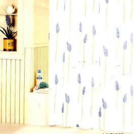 Υφασμάτινη κουρτίνα μπάνιου, λευκό - σιέλ