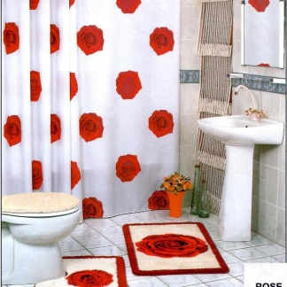 Υφασμάτινη κουρτίνα μπάνιου λευκό - κόκκινο