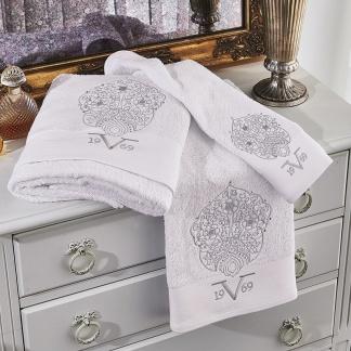 Λευκές πετσέτες Italia, 100% βαμβακερές. Σετ τριών τεμμαχίων, με κέντημα και κρυσταλλάκια
