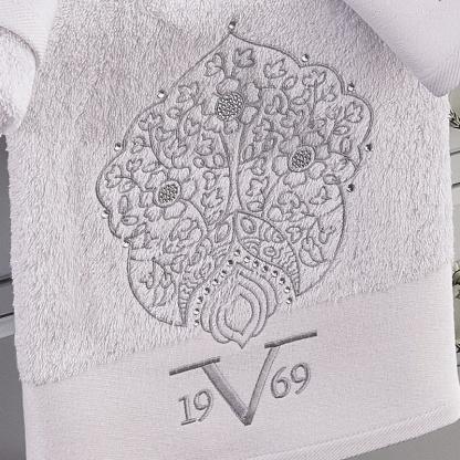 Σετ Πετσέτες 3τεμ MARRAKECH WHITE 100% cotton,με κέντημα και κρυσταλλάκια
