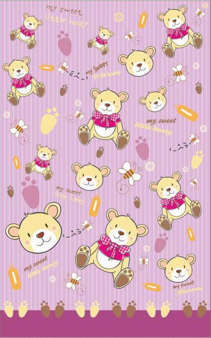 Contessa Σετ Σεντόνια Bebe BEAR STRIPES Pink 115*162