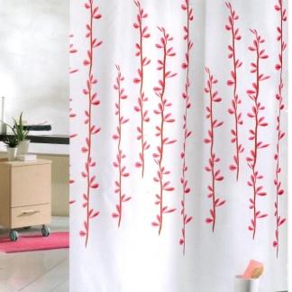 Υφασμάτινη κουρτίνα μπάνιου μεαντιμυκιτιακή προστασία, λευκό - ροζ