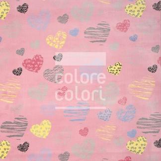 Ροζ Παιδικό Χαλί με Καρδιές Colore Colori Healthy Kiddie 7564