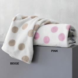 Κουβέρτα Dots Κούνιας Flannel Fleece Sherpa Palamaiki ροζ μπεζ πουά