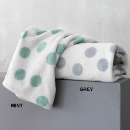 Κουβέρτα Dots Κούνιας Flannel Fleece Sherpa Palamaiki πράσινο γκρι πουά