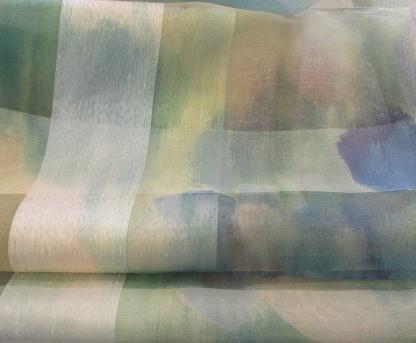 Διάφανο, Αέρινο, Paint, Ύφασμα Κουρτίνας - Οργαντίνα Γαλλίας 5170 Γαλαζοπράσινο