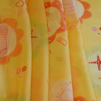 Κίτρινο Ανάλαφρο Βουάλ με Χρωματιστά Σχέδια για Κουρτίνες Κοριτσίστικου Δωματίου