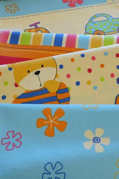 Μαλακό Βαμβακοσατέν Ύφασμα Κουρτίνας με Παιδικά Σχέδια σε Μπεζ - Γαλάζιο Χρωματισμό