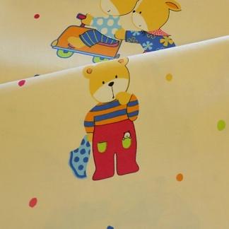 Μπεζ Βαμβακοσατέν Ύφασμα με Μικρά Αρκουδάκια για το Παιδικό Δωμάτιο