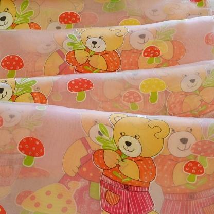 Ροζ Ύφασμα με Αρκουδάκια και Μανιτάρια για το Παιδικό Δωμάτιο