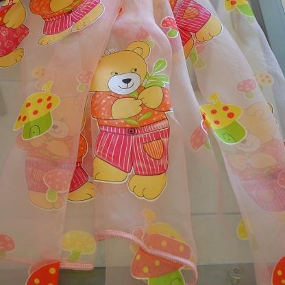 Διάφανες Κουρτίνες με Ροζ Παιδικά Σχέδια