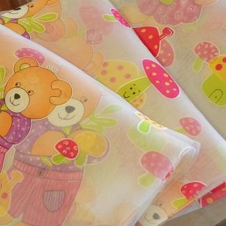 Ανάλαφρες Παιδικές Κουρτίνες με Αρκουδάκια και Μανιταράκια