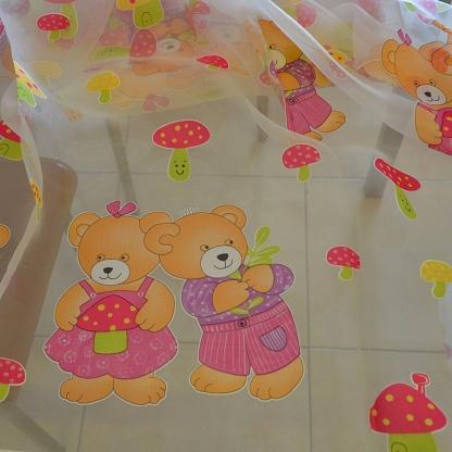 Διάφανη Κουρτίνα Παιδικού Δωματίου με Μωβ Αρκουδάκια