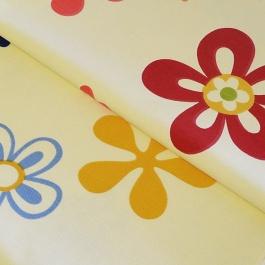 Λευκό Καραβόπανο με Λουλούδια