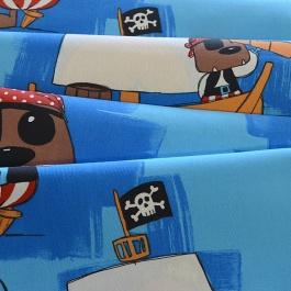 Γαλάζιο Ύφασμα με Πειρατές