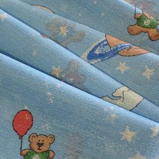 Γαλάζιο ύφασμα κουρτίνας με αρκουδάκια