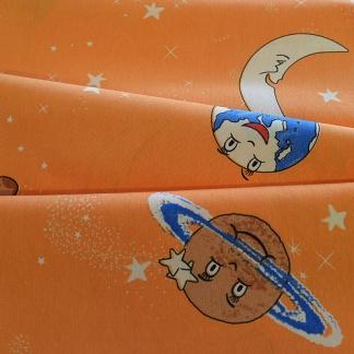 Πορτοκαλί βαμβακερό ύφασμα για παιδική κουρτίνα