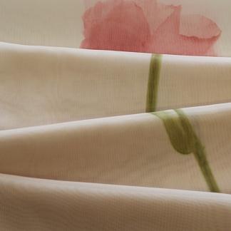 Μπεζ Ύφασμα Κουρτίνας με Κόκκινο Τριαντάφυλλο