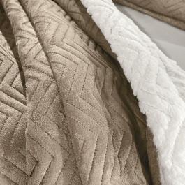 Καφέ Κουβέρτα με Άσπρη Γούνα Προβατάκι