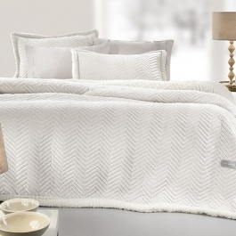 Εκρού Υπέρδιπλη Κουβέρτα με Γούνινη Επένδυση