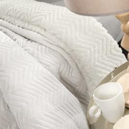 Εκρού Κουβέρτα με Γούνινη Επένδυση Προβατάκι