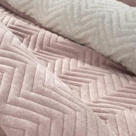 Ροζ Κουβέρτα με Γούνινη Επένδυση