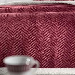 Κόκκινη Κουβέρτα Βελουτέ με Λευκή Γούνα