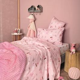 Ροζ Παιδικά Σεντόνια με Σχέδιο