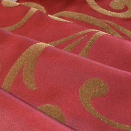 Σκούρος Κόκκινος Λαμπερός Ταφτάς Κουρτίνας με Ανάγλυφο Σχέδιο Armonia - Pasxos