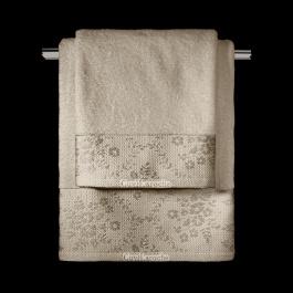 Μπεζ Πετσέτες Μπάνιου με Κεντητή Φλοράλ Φάσα, 100% Βαμβακερές