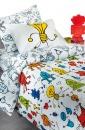 Άσπρα. βαμβακερά, παιδικά σεντόνια Saint Clair με πολύχρωμο παιδικό σχέδιο Robot