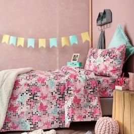 Εφηβικά Σεντόνια Ροζ με Σχέδιο Πεταλούδες - Παλαμαϊκή TC921