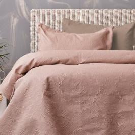 Ροζ - Καφέ Κουβερλί Δύο Όψεων Palamaiki Linden Rose - Fog